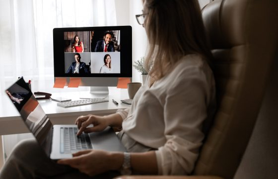 Video business conference. Young director holds a video conference from home. High quality photo