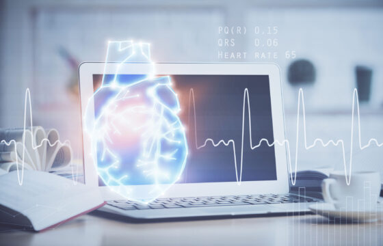 Desktop computer background and heart drawing. Double exposure. Medical study and healthcare concept.